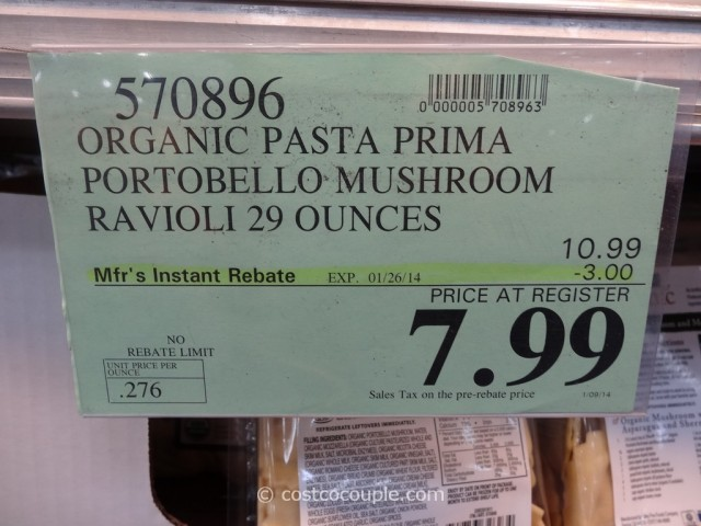 Pasta Prima Organic Portabello Mushroom and Mozarella Ravioli Costco 2