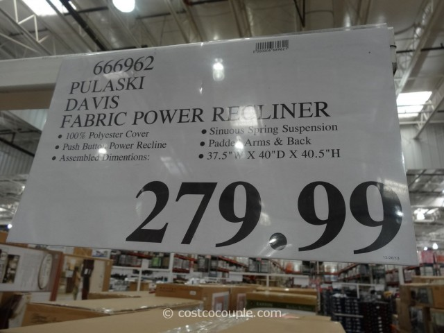Pulaski Davis Fabric Power Recliner Costco 1