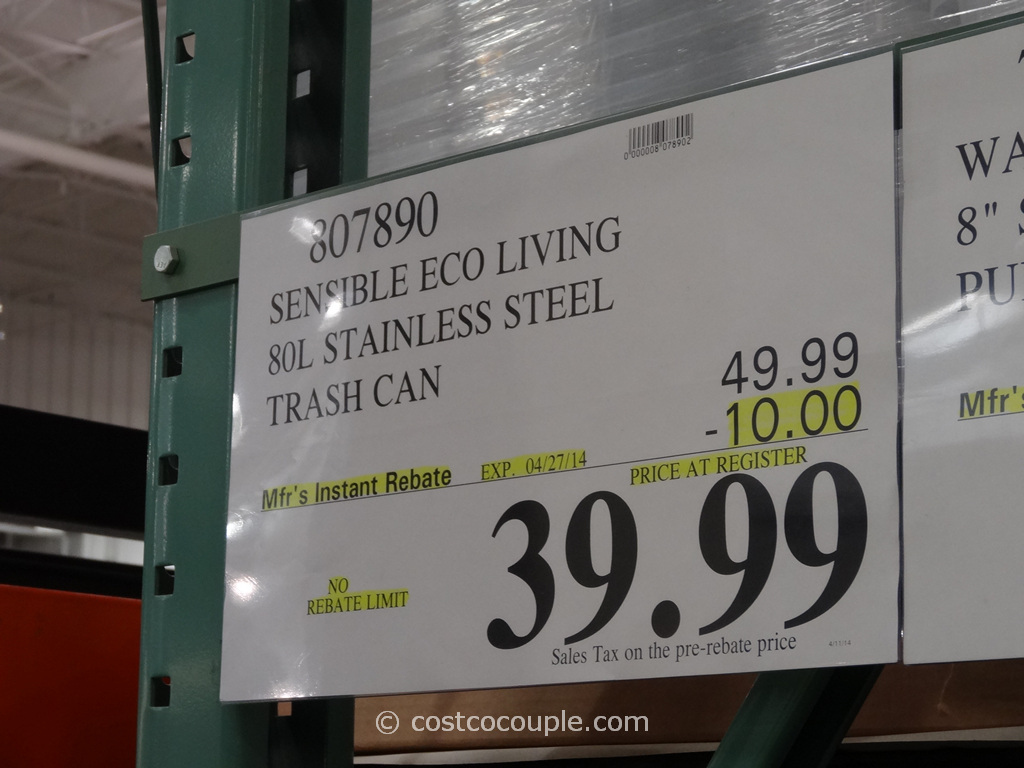 Sensible Eco Living Stainless Steel Trash Can Costco