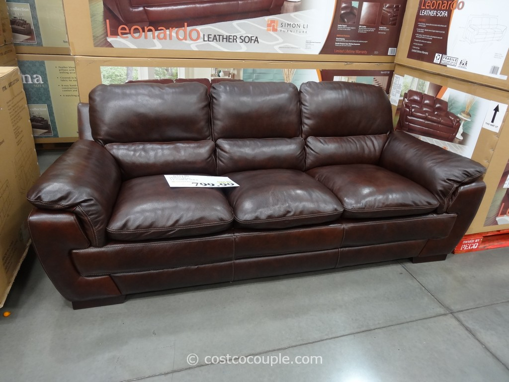 Simon Li Leonardo Leather Sofa Rh Costcocouple Com
