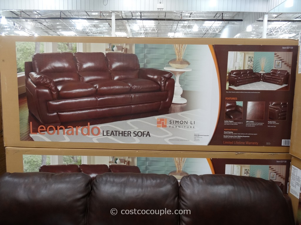 Simon Li Leonardo Leather Sofa Costco 3