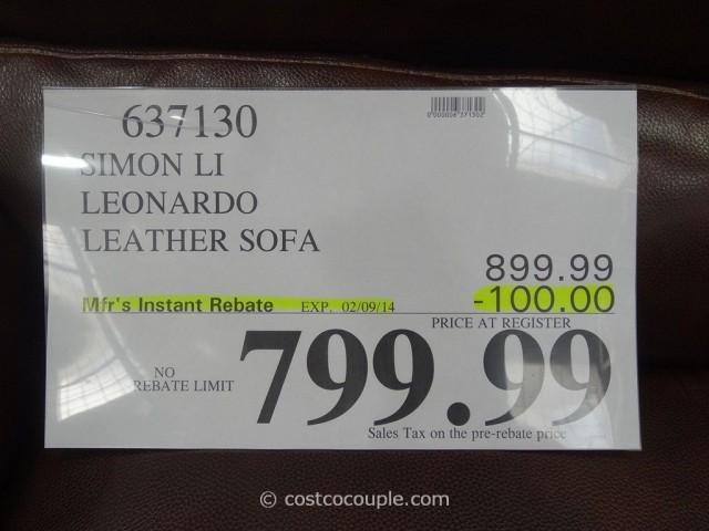 Simon Li Leonardo Leather Sofa Costco