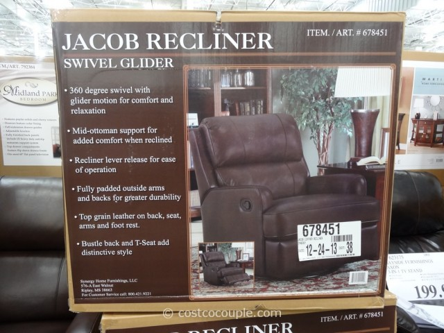 Synergy Jacob Leather Swivel Glider Recliner Costco 3