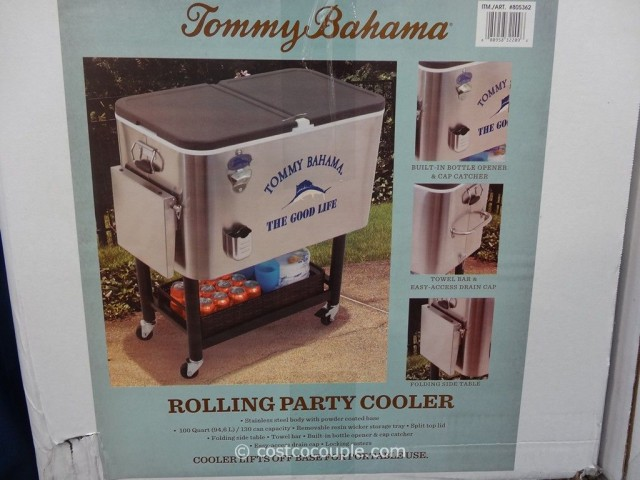 Tommy Bahama 100 Qt Stainless Steel Rolling Cooler Costco 2