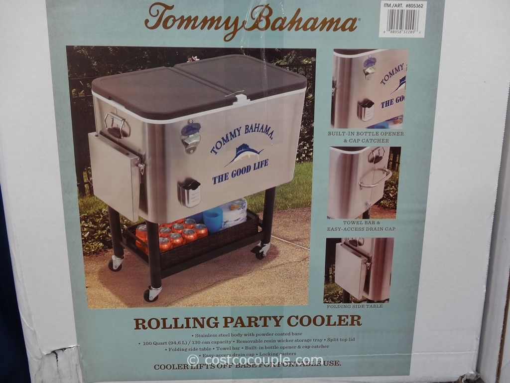 Tommy Bahama 100 Qt Stainless Steel Rolling Cooler