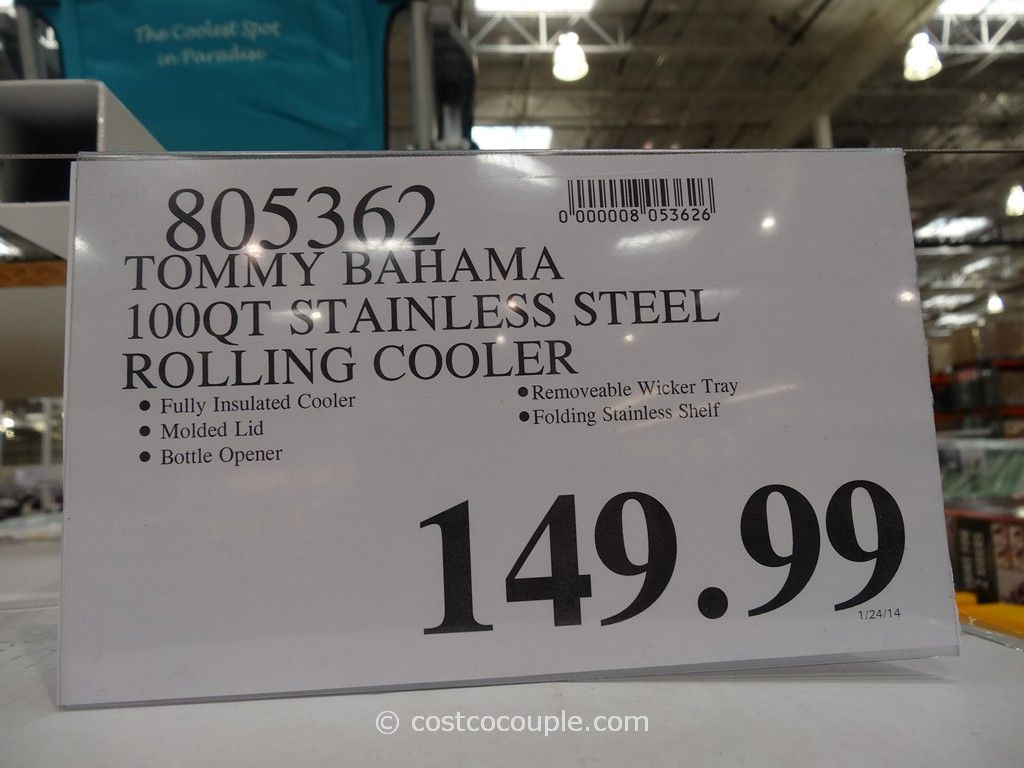 ... Tommy Bahama 100 Qt Stainless Steel Rolling Cooler Costco 5