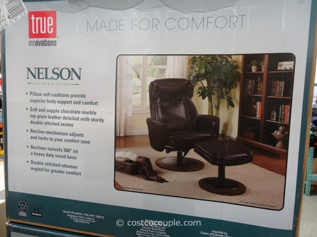 True Innovations Nelson Leather Recliner With Ottoman Costco 4
