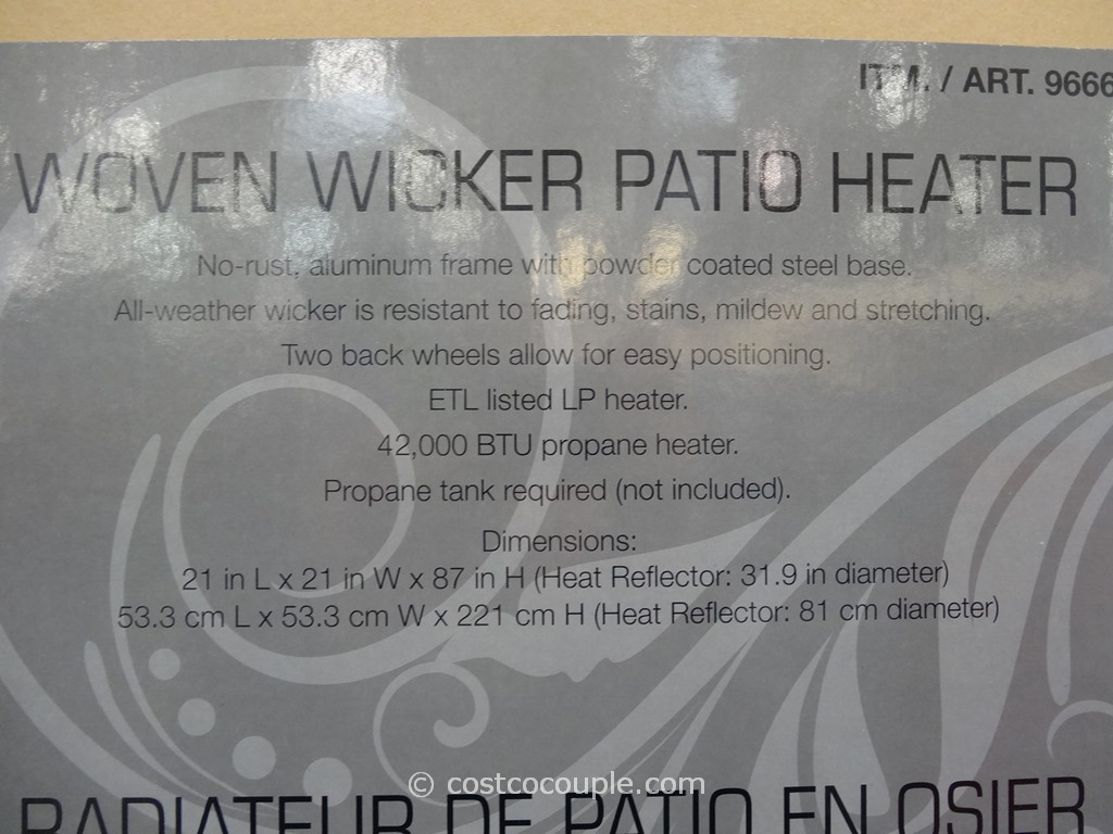 Woven Wicker Outdoor Lp Patio Heater