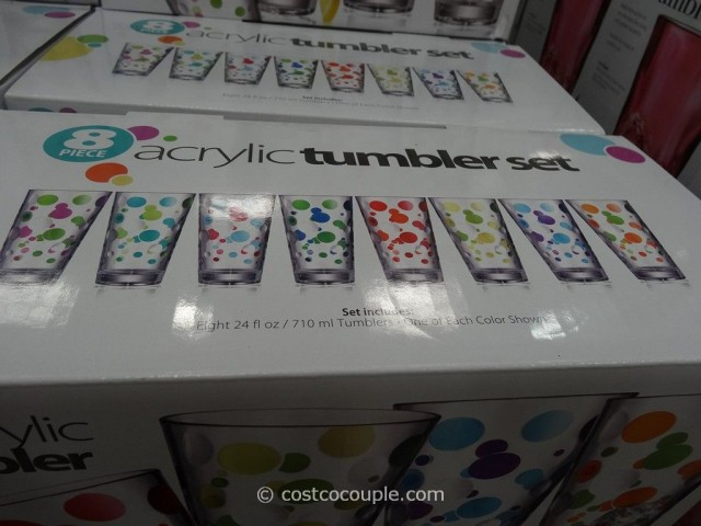 8-Piece Polka Dot Acrylic Tumbler Set Costco 3