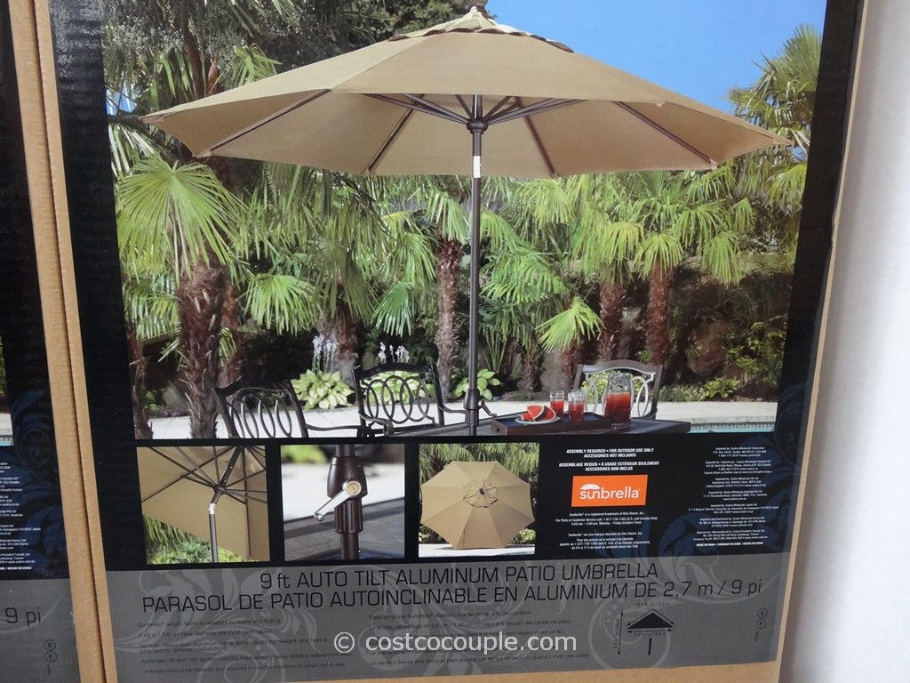 9 Ft Auto Tilt Aluminum Patio Umbrella Costco 3 ... - 9 Ft Auto Tilt Aluminum Patio Umbrella