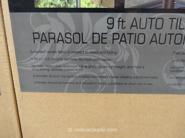 9 Ft Auto Tilt Aluminum Patio Umbrella Costco 4