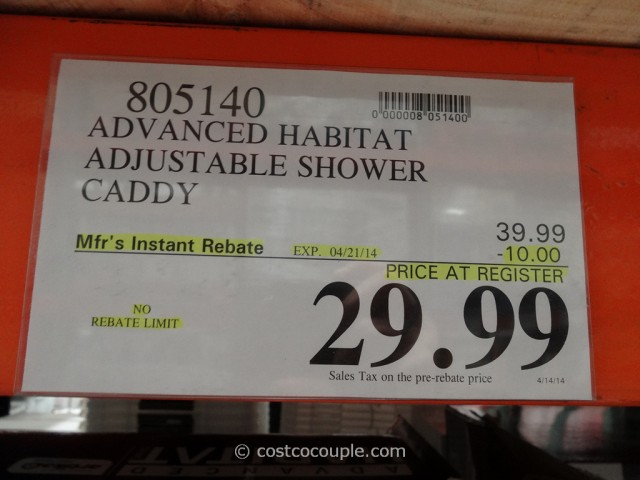 Advanced Habitat Adjustable Shower Caddy Costco
