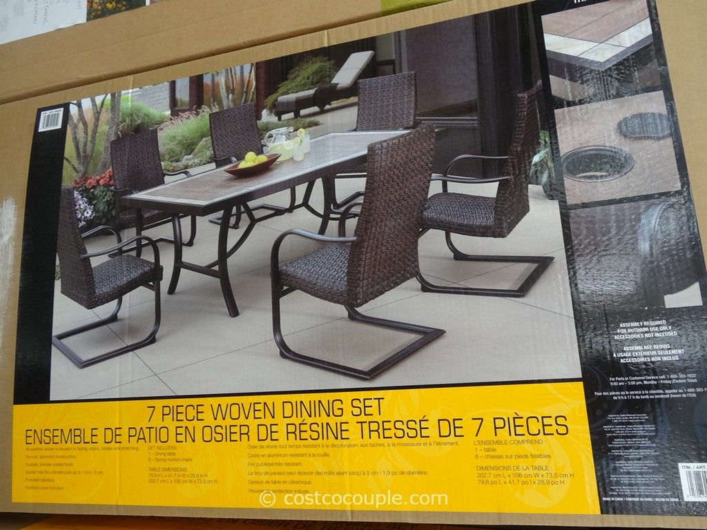 Agio International 7 Piece Fairview Woven Dining Set Costco 2