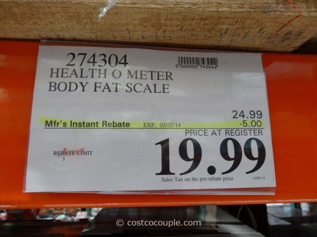 HealthOMeter Body Fat Scale Costco 1