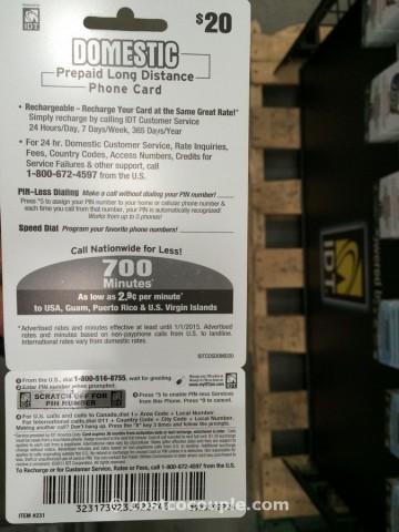 IDT Domestic PrePaid Phone Card Costco 3