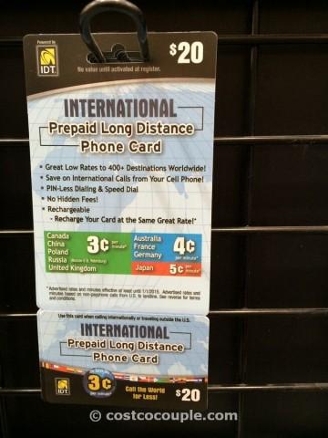 IDT International PrePaid Phone Card Costco 2