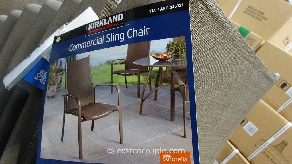 Sling patio chairs costco kirkland signature commercial for Agio sling chaise lounge