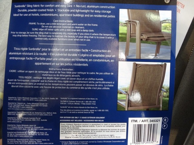 Kirkland Signature Commercial Sling Chair Costco 4