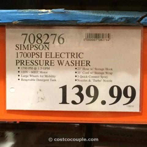 Simpson 1700 psi Electric Pressure Washer Costco 4