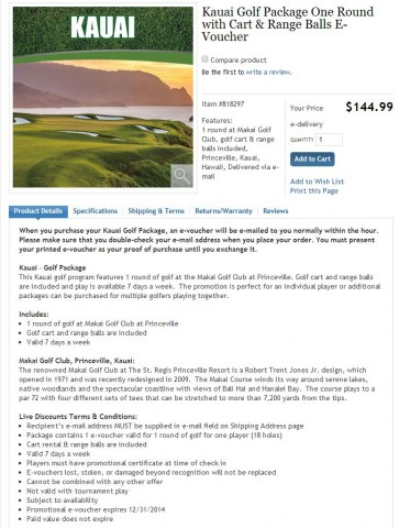 Gift Card Makai Golf Club Kauai Costco