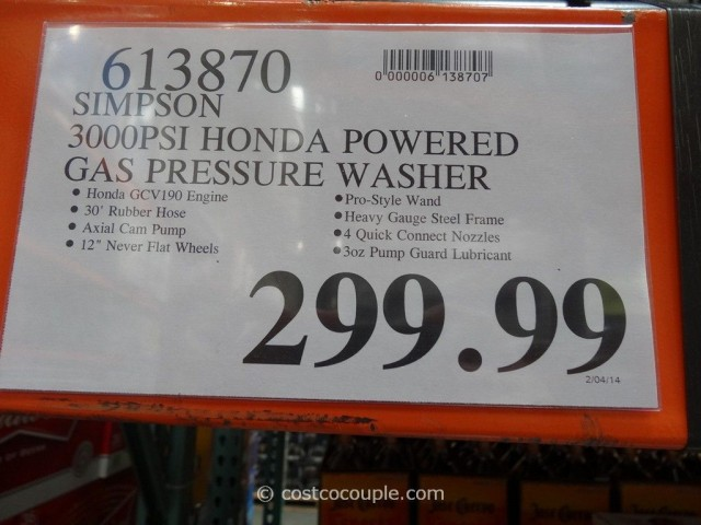 Simpson Gas Powered Pressure Washer Costco 1