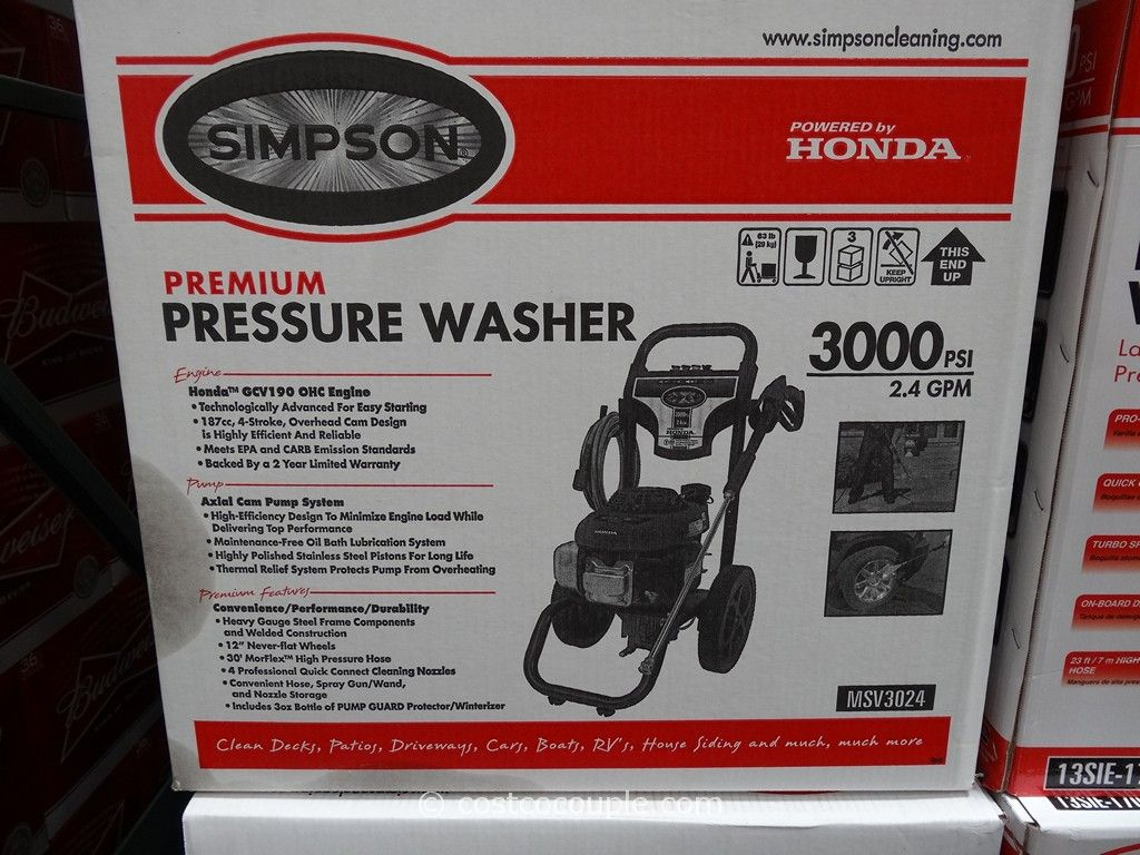 Simpson Gas Powered Pressure Washer Costco 2