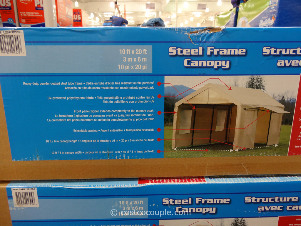 Attractive Steel Frame Canopy With Side Walls Costco 3 ...