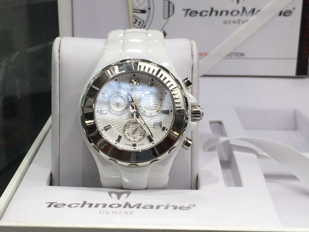 Technomarine Ladies Chronograph White Dial Ceramic Costco 2