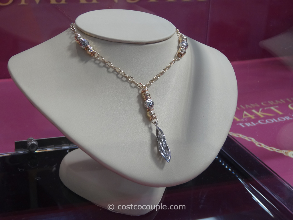 14KT Italian Tri-Color Lariat Necklace Costco 1