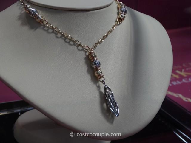 14KT Italian Tri-Color Lariat Necklace Costco 2