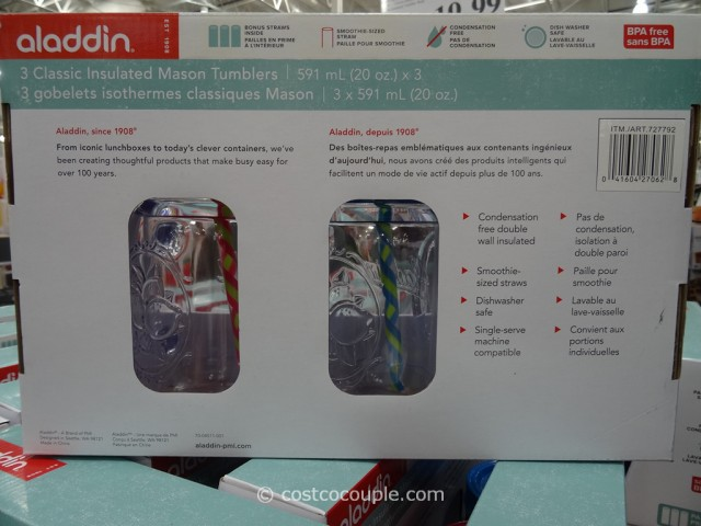 Aladdin Insulated Mason Tumblers with Straws Costco 4