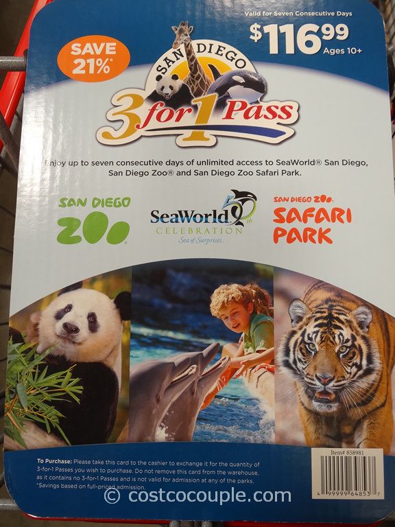 Gift Card San Diego Zoo 3-in-1 Pass Costco 1