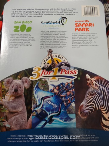 Gift Card San Diego Zoo 3-in-1 Pass Costco 2