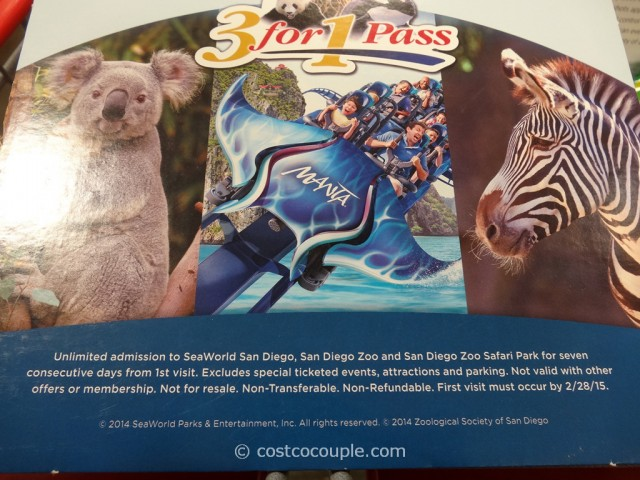 Gift Card San Diego Zoo 3-in-1 Pass Costco 3