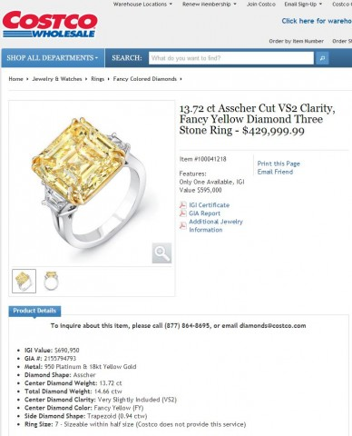 13.72 ct Asscher Cut VS2 Clarity, Fancy Yellow Diamond Three Stone Ring Costco 2