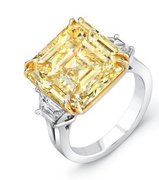 13.72 ct Asscher Cut VS2 Clarity, Fancy Yellow Diamond Three Stone Ring Costco 3