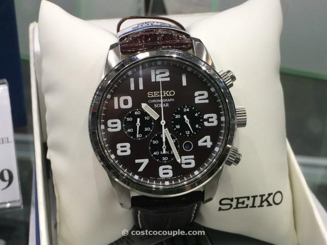 Seiko Mens Solar Chronograph Brown Leather Costco 1