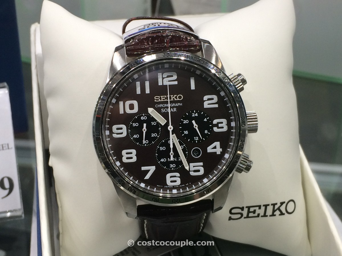 Seiko Mens Solar Chronograph Brown Leather Costco 1