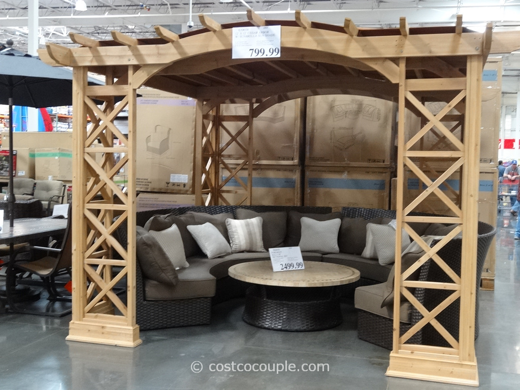 Yardistry Cedar Arbor With Sunbrella Sun Shade Costco 1