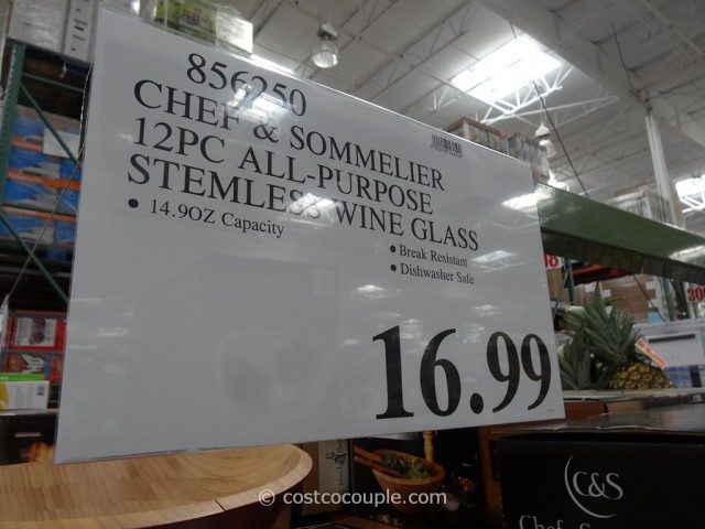 Chef and Sommelier Stemless Wine Glass Set Costco 1