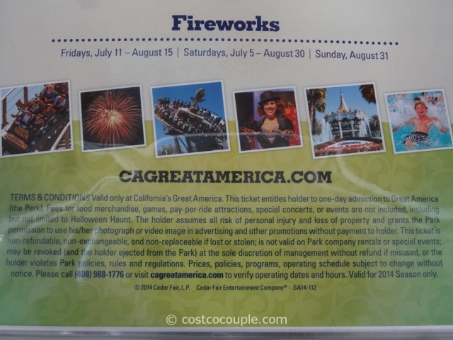 Great America 2014 General Admission Ticket Costco 2