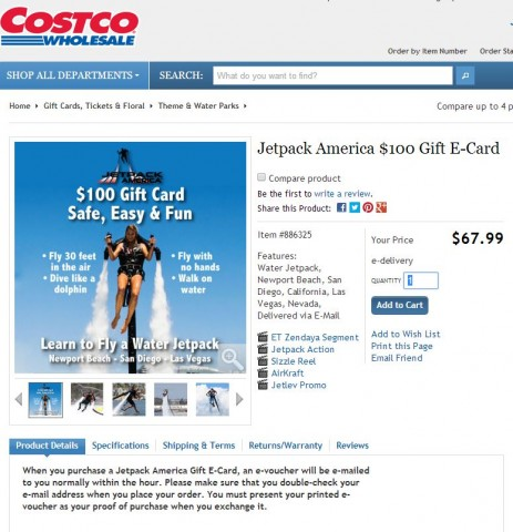 Jet Pack Gift Card Costco 4