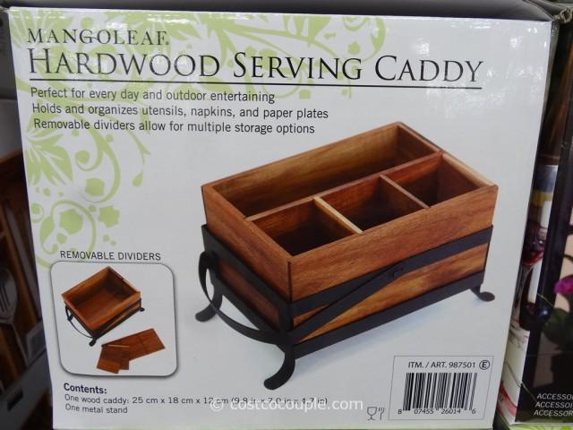 Mangoleaf Hardwood Serving Caddy