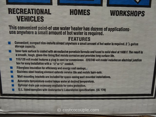 Rheem Point-Of-Use Electric Water Heater Costco 2