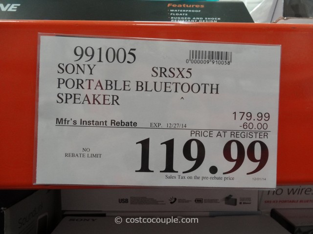 Sony Portable Bluetooth Speaker SRSX5 Costco