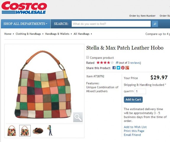 Stella and Max Patch Leather Hobo Costco