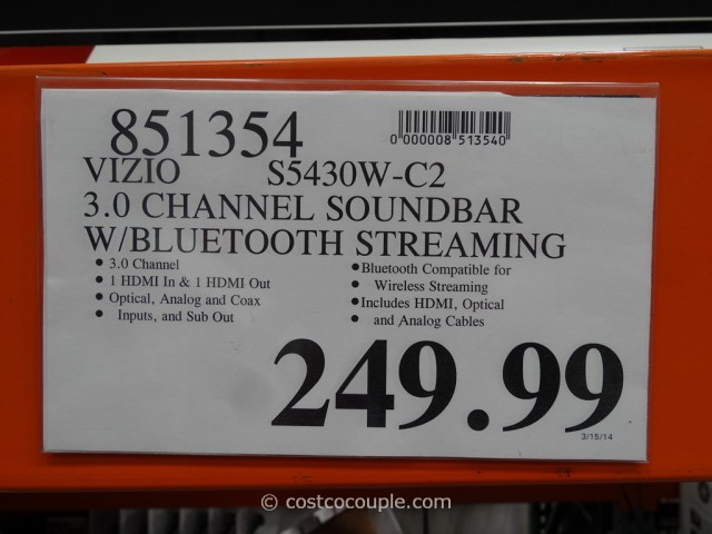 Vizio Soundbar  With Bluetooth Streaming Costco 1
