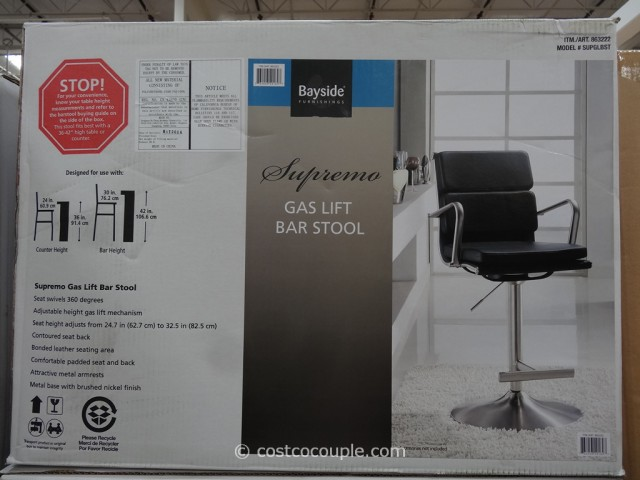 Bayside Furnishings Supremo Gas Lift Bar Stool Costco 1