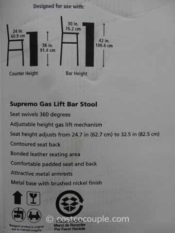 Bayside Furnishings Supremo Gas Lift Bar Stool Costco 3