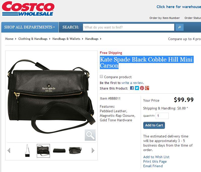 c39aaec1d444 ... Kate Spade Black Cobble Hill Mini Carson Costco 1
